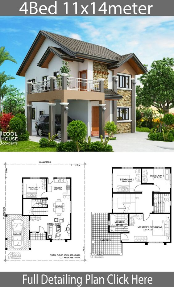 Home design plan 11x14m with 4 bedrooms - Home Design with Plansearch