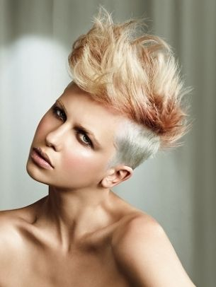 Girl Mohawk!! Love!! If I could pull this off, I would be walking around with a Mohawk right now! But sadly, I can't.