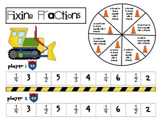 Fun game for working on fraction concepts.