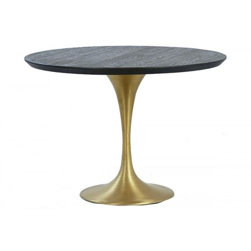 Gold Base Dark Wood Top Tulip Dining Table Tulip Dining Table