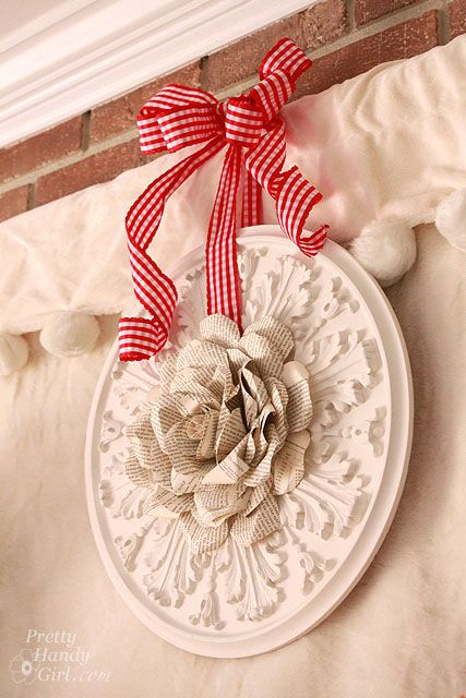 Ceiling Medallion And Book Page Rose Tutorial Hang It Up