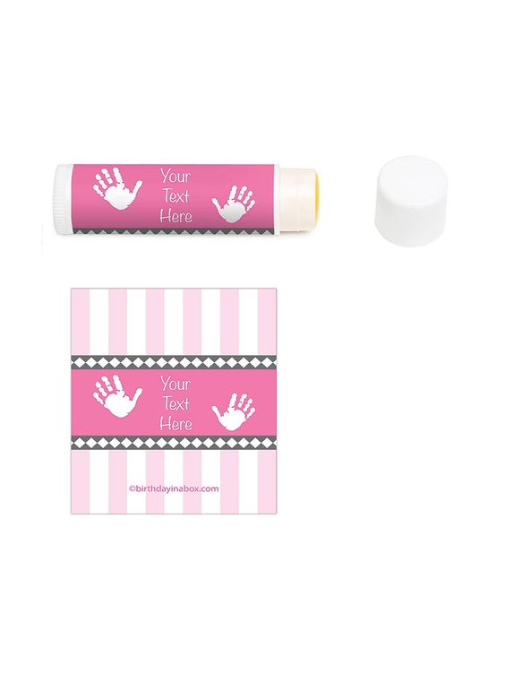 Baby Feet Pink Personalized Lip Balm | Personalized Party Supplies & Favors
