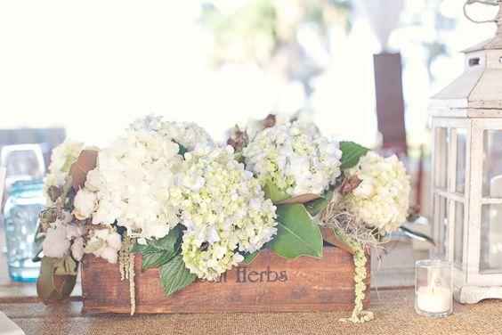 Southern weddings, Southern wedding ideas, hydrangea centerpieces, wooden box centerpieces