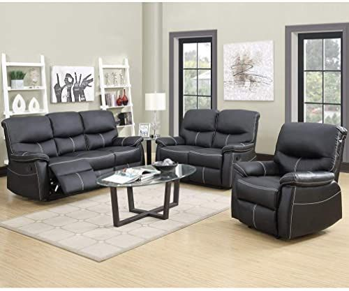 Great For Fdw Recliner Sofa Pu Leather Set 3 Pcs Motion Sofa