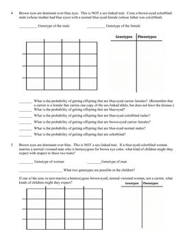 Worksheets Sex Linked Punnett Square Worksheet colors eyes and the ojays on pinterest genetics problem worksheet sex linked genes linkage this product is a