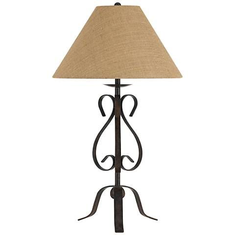 Ekalaka Natural Wrought Iron Scroll Table Lamp 10t95 Lamps