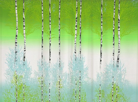 Koivikko Bright Green Curtain Panel - A moody and beautiful birch ...
