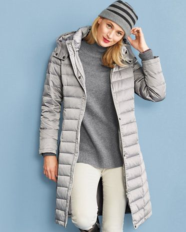 Long Puffer Coat - GarnetHill.com $238.00 Our down/feather classic