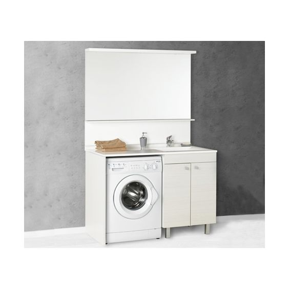 Salle de bain meuble avec espace lave linge pratique et - Meuble salle de bain lave linge integre ...