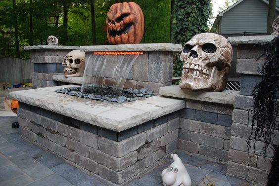 Unilock Brick Paver Waterfall Halloween Theme.