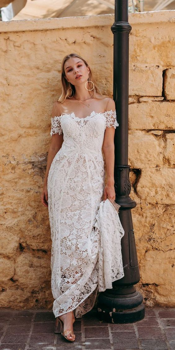 22 Casual Wedding Dresses For Summer Off Shoulder Embroidered Wedding Dress Backyard Weddin Casual Wedding Dress Wedding Dress Guide Wedding Dresses Simple
