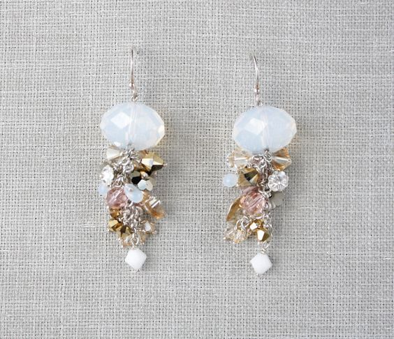 crystal garden earrings- rose/metallic/opal.