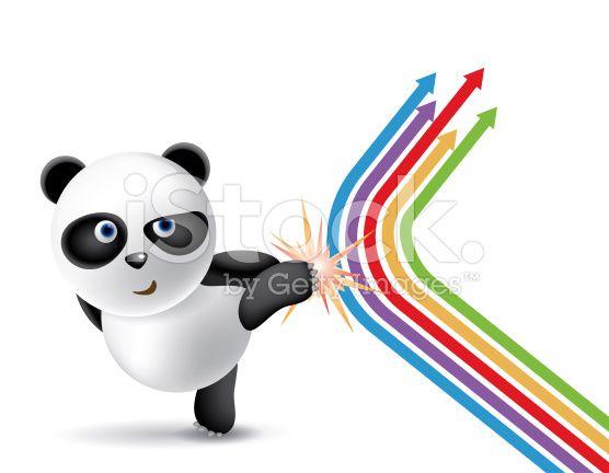 Panda Sie die Pfeile Richtung lizenzfreie Stock-Vektorgrafik