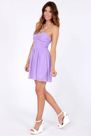 Exclusive Sash Flow Strapless Lavender Dress  Purple Lavender ...