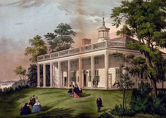 The Washingtons spent many happy afternoons on Mount Vernon's shady piazza, which caught the breezes off the Potomac. The two-story-high columned portico influenced the design of thousands of later American houses.