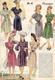 40s day dress floral white pink green grey color illustration print ad shoes hat purse button front wrap peplum War Era Swing Le Petit Echo de la Mode, 1943