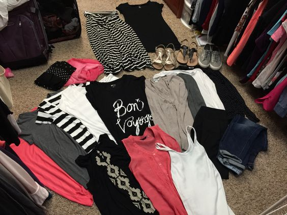 Carry-on only for 2 weeks in Europe/Cruise in Mediterranean:  5 T-shirts; 2 Cardigans; 2 Long sleeve tops; 3 Tank style tops; 1 Maxi skirt; 2 Black dresses (one not in photo is tank style); 2 Scarves; 2 Sandals; 1 Sneakers; 1 Skinny jeans; 1 Black leggings.: