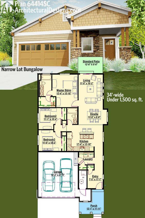 House plans square feet and house on pinterest for Bungalow house plans for narrow lots