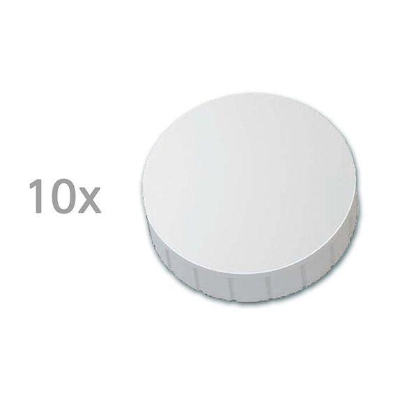 Maul magneten extra sterk 38 mm wit (10 stuks)     De witte magneten van Maul hebben een ronde vorm en zijn vervaardigd uit onbreekbaar kunststof. Deze grote, extra krachtige cirkel magneten hebben een hechtkracht tot 2,5 kg. Ze kunnen gebruikt worden op elk magneetbord of magnetisch metalen oppervlak. Verticale groeven langs de randen zorgen ervoor dat een magneet eenvoudig op te pakken en te verplaatsen is. De onderzijde van de magneet is afgewerkt met een antikras laklaagje.