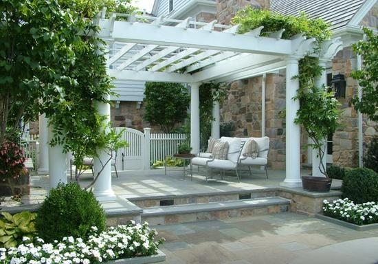 Beautiful pergola setting and vines hess landscape for Hess landscape architects