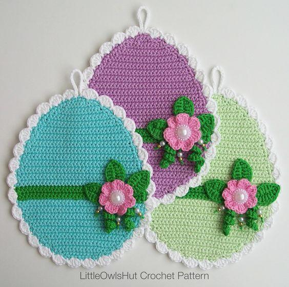 066 Easter Eggs potholder pattern by LittleOwlsHut ...