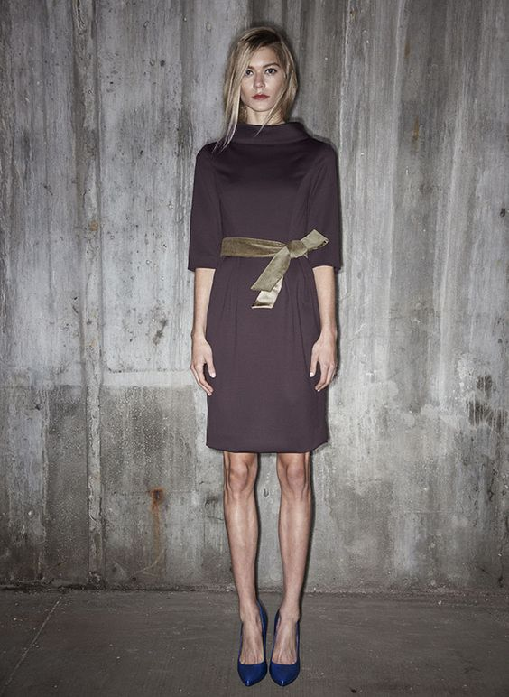 vestito 002 | the princess dress Princess seam dress with roll collar. Elbow sleeve and kick pleat. Chartreuse duchess satin and velvet self-tie belt.