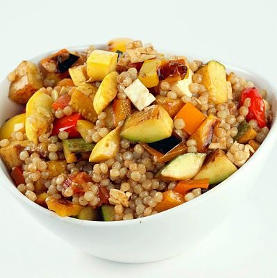 toasted Israeli couscous with grilled summer veg