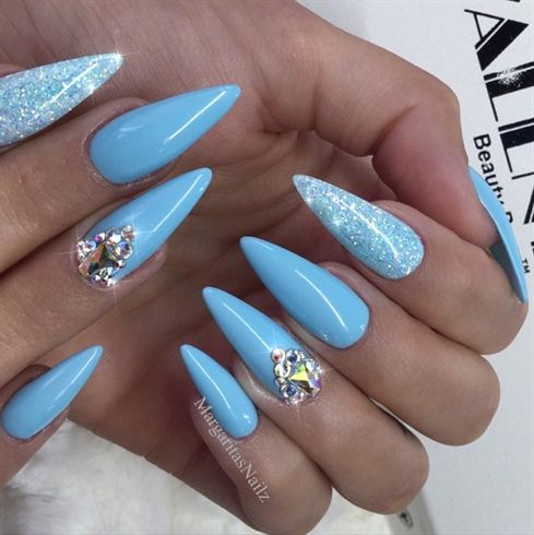 Baby Blue Bling Almond Nails By Margaritasnailz Blue Nail Designs Almond Nails Designs Coffin Nails Designs