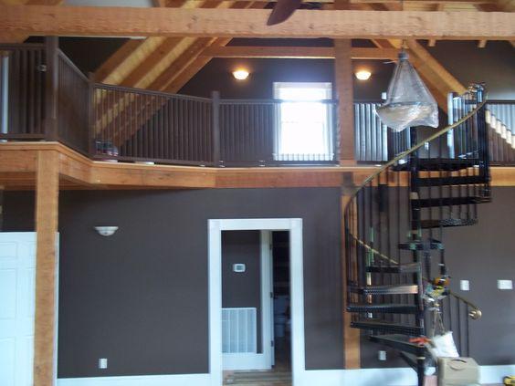 Cabin Interior Great Room View Of Loft