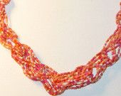 Orange, Pink, White Multistrand Glass Seed Bead Braided Torsade Vintage Necklace (N-1-3)