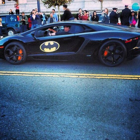 Finally found the #batmobile for #SFBatKid today in the financial district. #GothamCity #lamborghini #batman