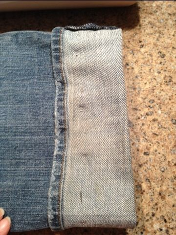 jeans, keeping the original hem