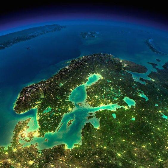 Escandinavia, Europa del Norte. Planeta Tierra: