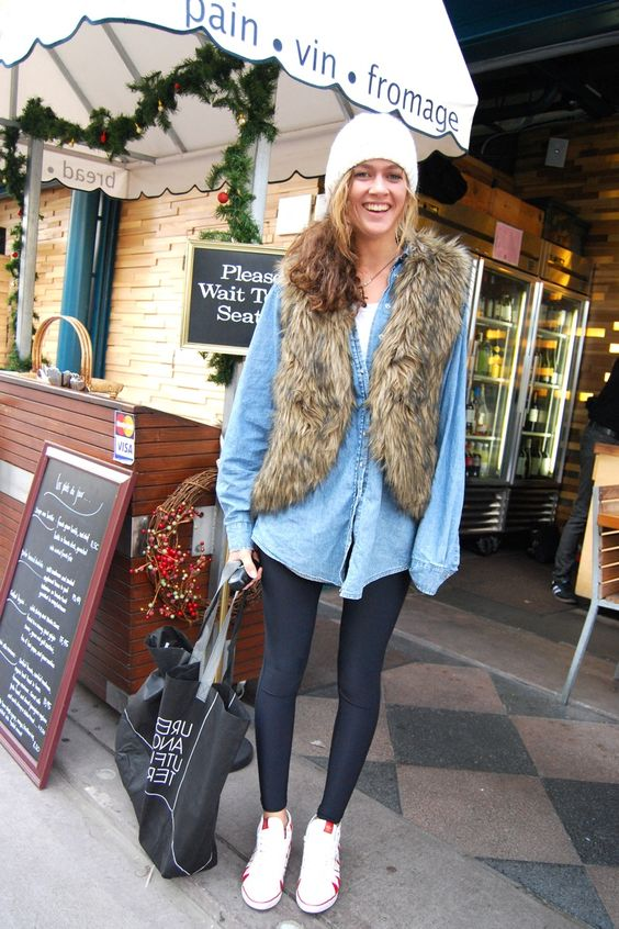 Like the combo, Chambray Shirt, fur and comfy sneakers