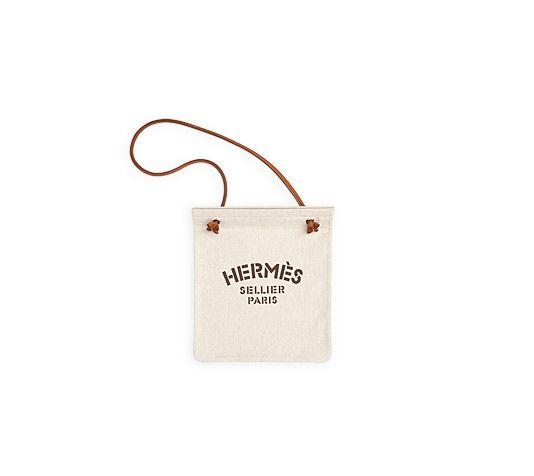 small brown handbag - Aline Hermes herringbone grooming bag in tawny canvas pouch with ...