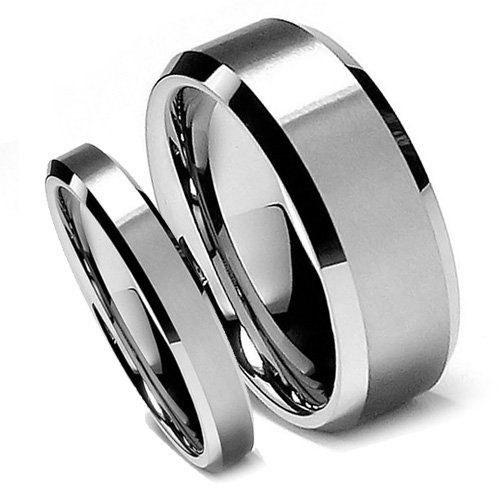 Top Value Jewelry - Matching Tungsten Wedding Band Set, His & Her Classy Brush Bevel Edge Ring Set, Titanium Color, Men 8MM (size 8-15), Women 5MM (size 5-8) - Half Sizes Available Top Value Jewelry, http://www.amazon.com/dp/B008HXQ5GU/ref=cm_sw_r_pi_dp_3qLYqb1YJ3AA5