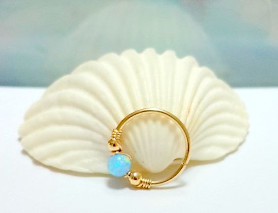 Fire light-blue opal tragus hoop silver by HelenCollectionJewel