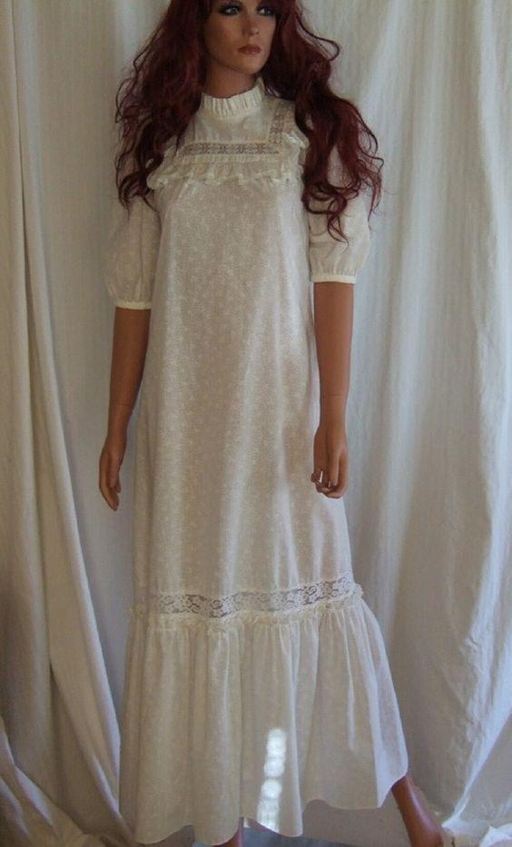 Vintage prairie dress port 1 liberty house boho prairie for Usa made wedding dresses