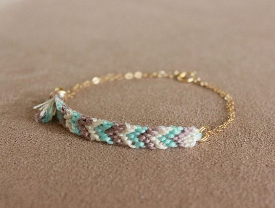friendship bracelet with chain by minco on etsy
