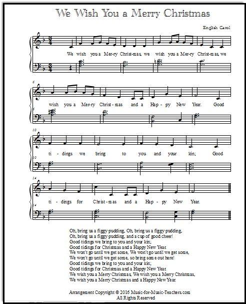 Piano Solo We Wish You A Merry Christmas Sheet Music And Song Lyrics Christmas Sheet Music Piano Sheet Music Free Christmas Piano