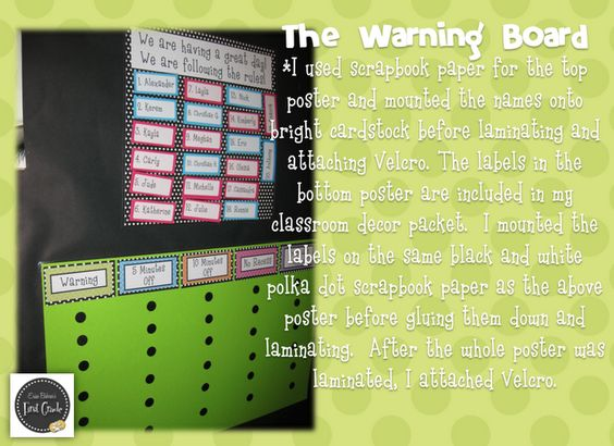 The Warning Board:  You move their names around, which have Velcro on the back.