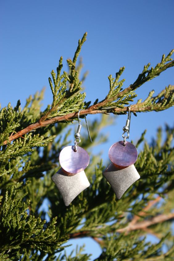Purple Flat Shell and Diamond Earrings