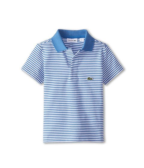 Lacoste Kids S/S Fine Stripe Pique Polo w/ Johnny Collar (Toddler/Little Kids/Big Kids)
