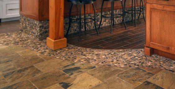Kitchen Floors Porcelain Tiles And River Rocks On Pinterest
