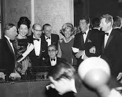 George Jessel, Rosalind Russell, Groucho Marx, Frank Sinatra, Irving Berlin, Dinah Shore, Dean Martin, & Danny Kaye at the Beverly Hilton SPG Awards in 1963