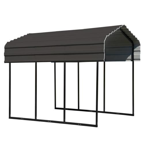 Galvanized Steel Metal Carport 10x15 Charcoal In 2020 Steel Carports Steel Roof Panels Galvanized Steel