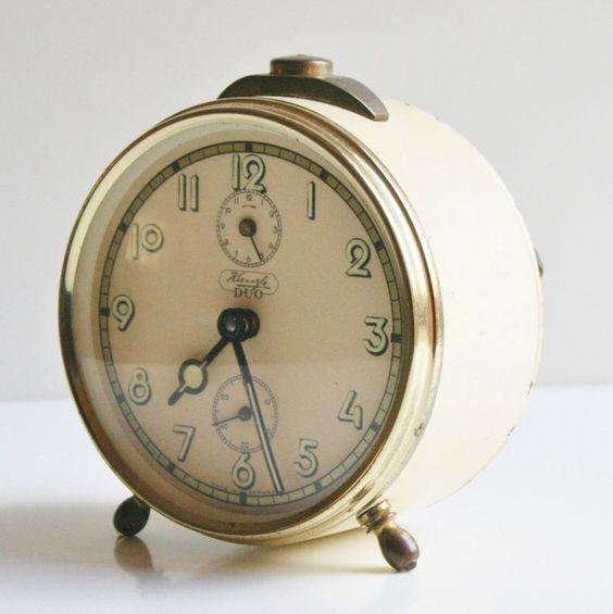 kienzle duo wind up alarm clock metal vintage made in