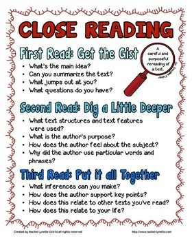 """This+freebie+includes+a+close+reading+poster,+3+graphic+organizers+(one+for+each+read),+and+a+set+of+6+""""Talk+Time""""+discussion+prompt+cards.+These+resources+came+from+my++Close+Reading+Toolkit+for+Informational+Text+but+will+work+fine+as+stand-alone+activities.  Looking+for+close+reading+passages?++Try+the+close+reading+section+of+my+TpT+Store.+  Happy+Teaching!  Rachel+Lynette"""