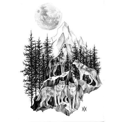 Wolf Forest Drawing Tatuaje De Bosque En El Brazo Tatuajes De Lobos Tatuaje De Manada De Lobos