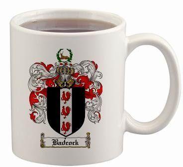 Badcock Coat of Arms Mug / Family Crest 11 ounce cup $15.99